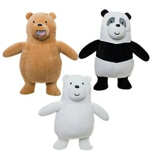 Set Complet 3 Peluche 20cm Sommes Seulement Ours Bare Bears Grizzly Panda Blanc