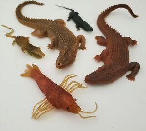 Vintage Lot Rubber Jiggler Alligator Creature Monster Crocodile Hong Kong Toy