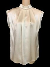 Lanvin Top Cream Silk Sleeveless Pleated High Collar Size 36 NEW $1180