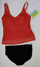 Bahia by Christina Coral Top with Black Bottoms Size L/11,12   D Cup