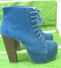 """NEW Blue 5""""Block High Heel 2.5""""Hidden Platform Lace Up Sexy Ankle Boots Size 7"""