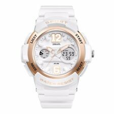 Women Girl Dual Time Sport Waterproof Alarm LED Digital Analog Quartz Wristwatch