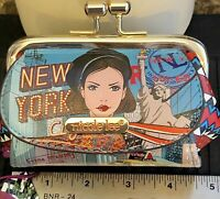 NWT~Nicole Lee~NEW YORK DRIVE~LARGE~Kiss Lock Coin Purse~2 Outside Pockets