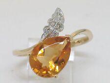 Citrin Ring 585 Gelbgold 14Kt Gold natürlicher Citrin und 5 Brillanten