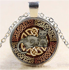 Celtic Cat by Kristen Glass Cabochon Tibet Silver Pendant Chain Necklace + Gift