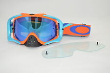 Maschera Oakley Crowbar Mx Heritage Racer Orange Blu Ice oo7025-45 Cross Enduro