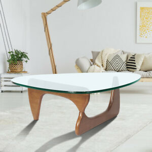 Noguch-i Coffee Table Light Walnut Base Clear Glass Table Top Side End Table AU