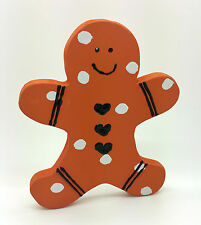 SPOTTY GINGERBREAD MAN PAINTED WOOD FIGURE CHRISTMAS DECORATION SHABBY CHIC HOME