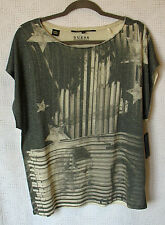"""Guess Boyfreno Fit Cap Sleeve Printed """"Iconic & Rock"""" Knit Top Size L NWT"""