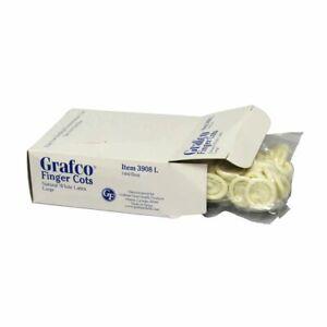 GRAFCO LATEX FINGER COTS 144 PER BOX NATURAL WHITE LATEX SEALED BOX