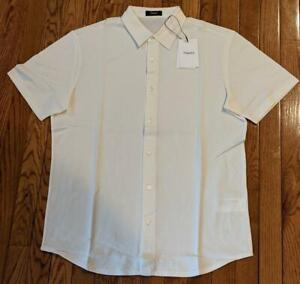 """$155 Mens Theory """"Fairview"""" Luxe Cotton SS Sport Shirt Ivory 2XL"""
