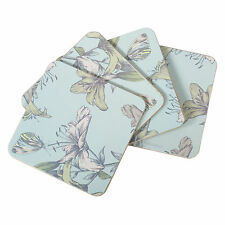 Set of 4 Blue Square Floral Drinks Coasters Cork Mats Vintage Shabby Chic Lily