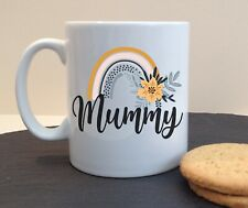 Floral Rainbow Personalised Ceramic Mug Gran Granny Mam Mummy Mum Name