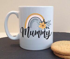 Floral Rainbow Personalised Ceramic Mug Gran Granny Mam Mummy Mum Name