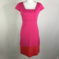 Yoana Baraschi Ponte Knit Sheath Dress Cap Sleeve Colorblock Pink Orange Small