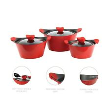 Caia 3pc Die-cast Non-stick Marble Coated Stockpot Set with Glass Lids 4 Colours