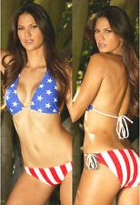New listing Stars Stripes Usa Flag American Halter Bikini W Tie Bottom Swimwear Size Large =