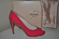 NIB $650+ PRADA PINK Patent Peep Toe Platform Pump Heel Shoes Sz 37 / 7 -  6.5