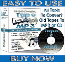 Tape 2 MP3 - Transfer Cassette Tapes, MiniDiscs to MP3 or CD 2.8m Kit + Free CD