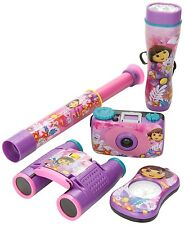 DORA THE EXPLORER ADVENTURE KIT CAMERA FLASHLIGHT COMPASS BINOCULARS TELESCOPE