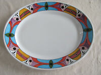 Deruta Pottery Italy Villagio-Multi-Color Geometric- Large Oval Serving Platter