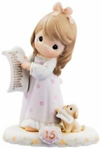 Precious Moments, Growing In Grace, Age 15 Brunette Girl Original New Figurine