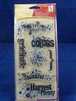 NEW INKADINKADO CLEAR STAMP SET HARVEST EXPRESSIONS FALL THANKSGIVING 98555