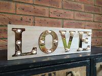 Love Wooden Light Up Sign Carnival Display Plaque Vintage Wedding Decoration