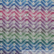 BonEful Fabric FQ Cotton Quilt White Pink Blue Purple South*west Pattern Stripe