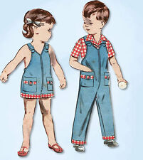 1950s Vintage Butterick Sewing Pattern 9054 Baby Girls Boys Overalls Sunsuit Sz1