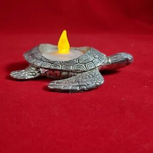 """Retired Yankee Candle Sea Turtle Silver Tea light Candle Holder 4"""" Detailed"""