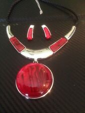 silver necklace and earring set with red statement pendant handmade stunning
