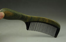 beautiful Chinese green sandalwood comb inset ox horn comb hand carved