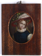 """""""Portrait of a young beauty"""", French oil on tin miniature, 1820/25"""