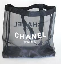 NEW CHANEL VIP Gift Mesh Black Tote Beach Travel Cosmetic Bag Authentic Rare!