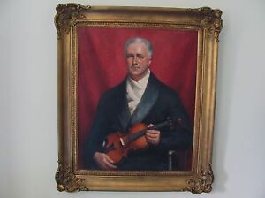 PORTRAIT OF CLAUDE TRYON WITH A VIOLIN by NEVILLE STEPHEN LYTTON