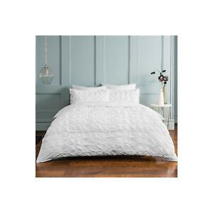 Sleepdown Ruched Pleat White Bedding Set Single - Faint Mark on Rear Pillowcase