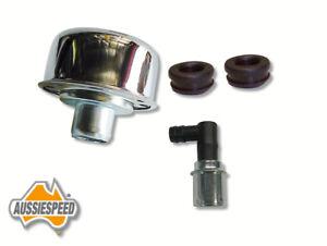 Rocker cover breather kit chrome oil cap, grommets, pcv valve Aussiespeed