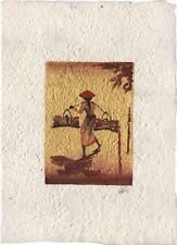 Original Ink, Oil, Gold and Water Color Painting from Luang Prabang, Laos  LP108