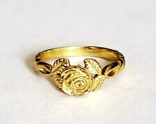14 KT SOLID YELLOW GOLD ROSE RING WITH LEAVES SIZE 8