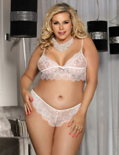 Plus Size 14 to 22 Lace Bralette Set White