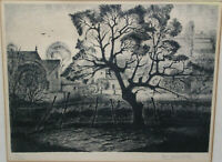 Landscape Etching Print Art Country Manor House House Jean Marie Estebe Signed