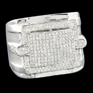 1.60 Ct Round Cut Diamond Pinky Ring Men's 14K White Gold Finish Wedding Band