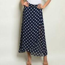 Polka Dot Navy & White Maxi Skirt Size Small