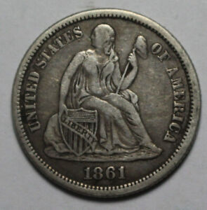 1861 Seated Liberty Dime ZC625