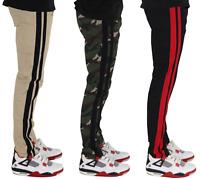 Men's Skinny Fit Pants Jogger Track Pants Zipper Bottom Striped Jogger Pants
