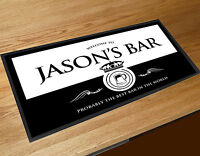 Personalised bar runner Welcome Black & White Beer Wine label bar mat pubs