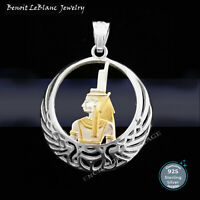 STERLING SILVER 925 EGYPTIAN ISIS HEALING MOTHER GODDESS GOLD PLATED PENDANT