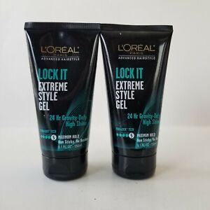 Loreal Paris Lock It Extreme Style Gel Level 5 Maximum Hold Non Sticky Lot of 2