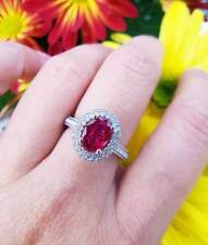 18ct White Gold Ruby & Diamond Dress Ring.
